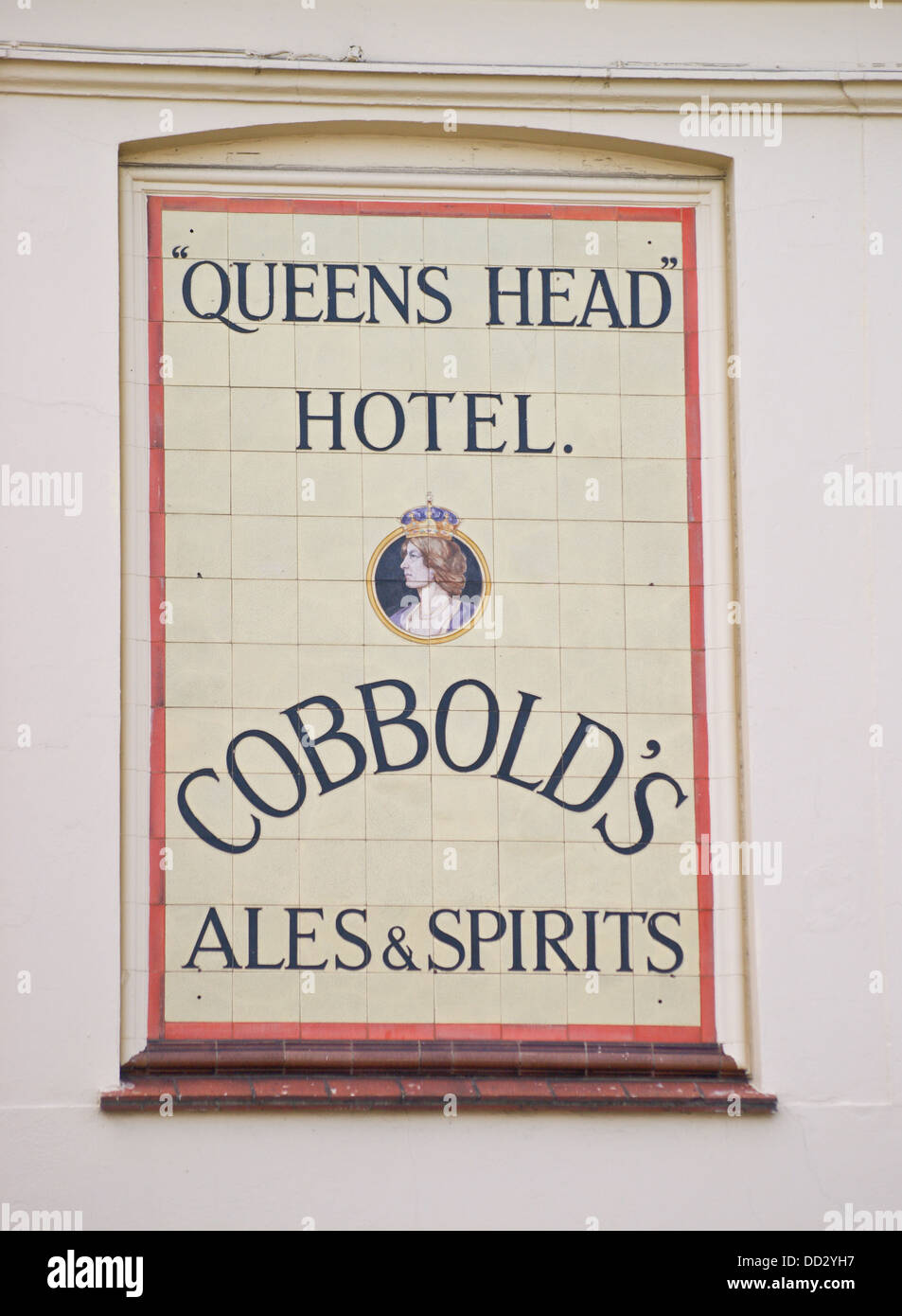 Tiled sign of the former Cobbold brewery, Queen's Head Hotel, Great Clacton, Clacton-on-Sea, Essex, England - Stock Image