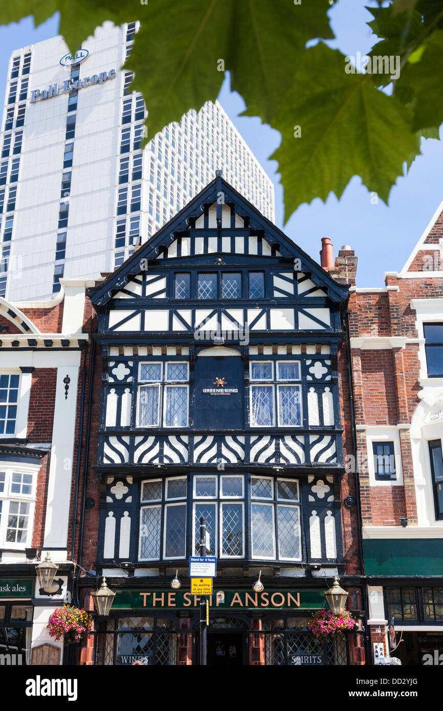 Variety of building styles through the ages, Portsmouth, Hampshire, England - Stock Image