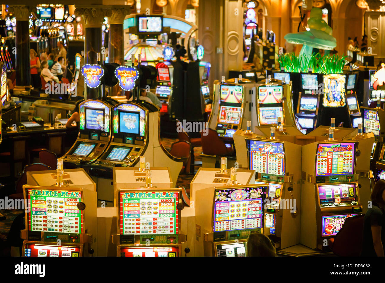 Slot machines in a casino at the Tropicana Hotel, Las Vegas - Stock Image