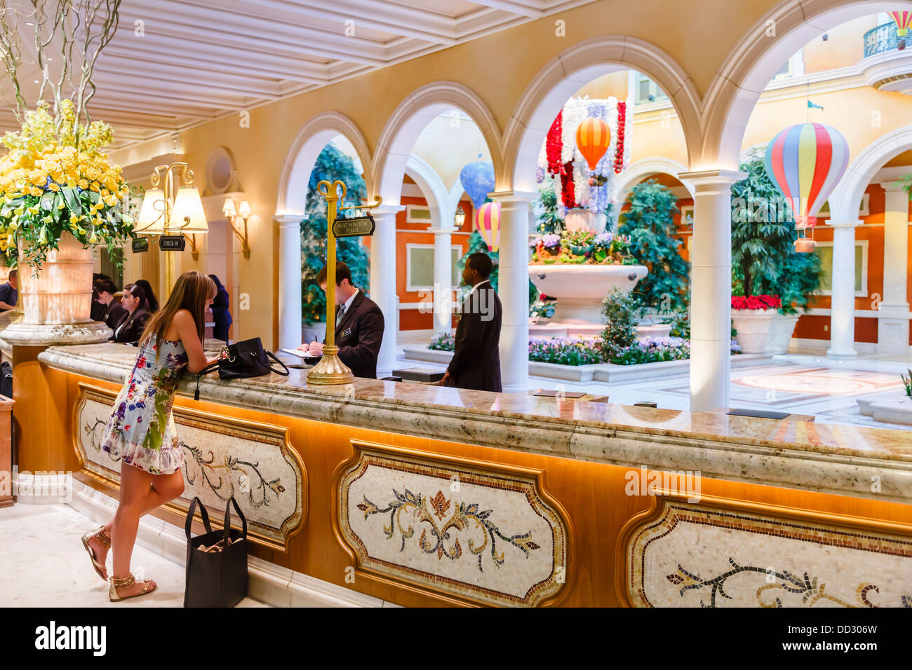 Amazing Woman Checks In At The Lobby Of The Bellagio Hotel Las Vegas   Stock Image Nice Look