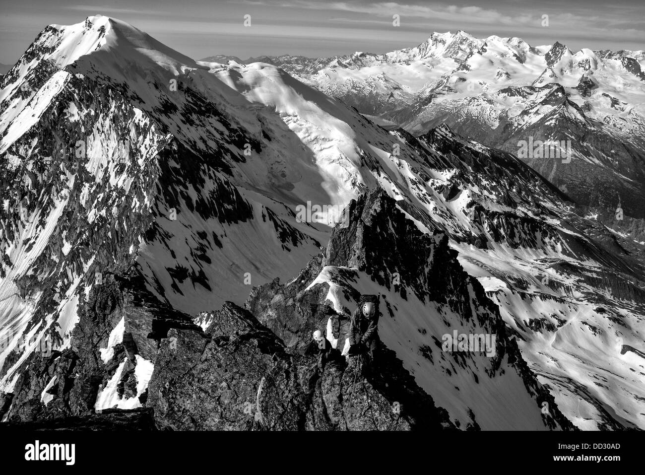 Alpine climbers on the Lagginhorn in Switzerland Stock Photo