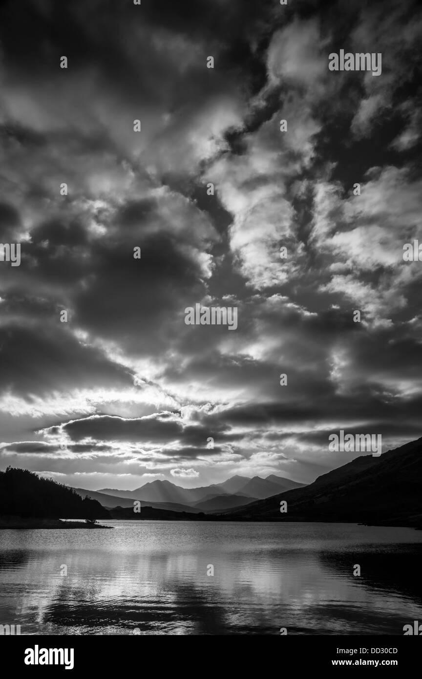 Llynnau Mymbyr and the Snowdon Horseshoe Stock Photo