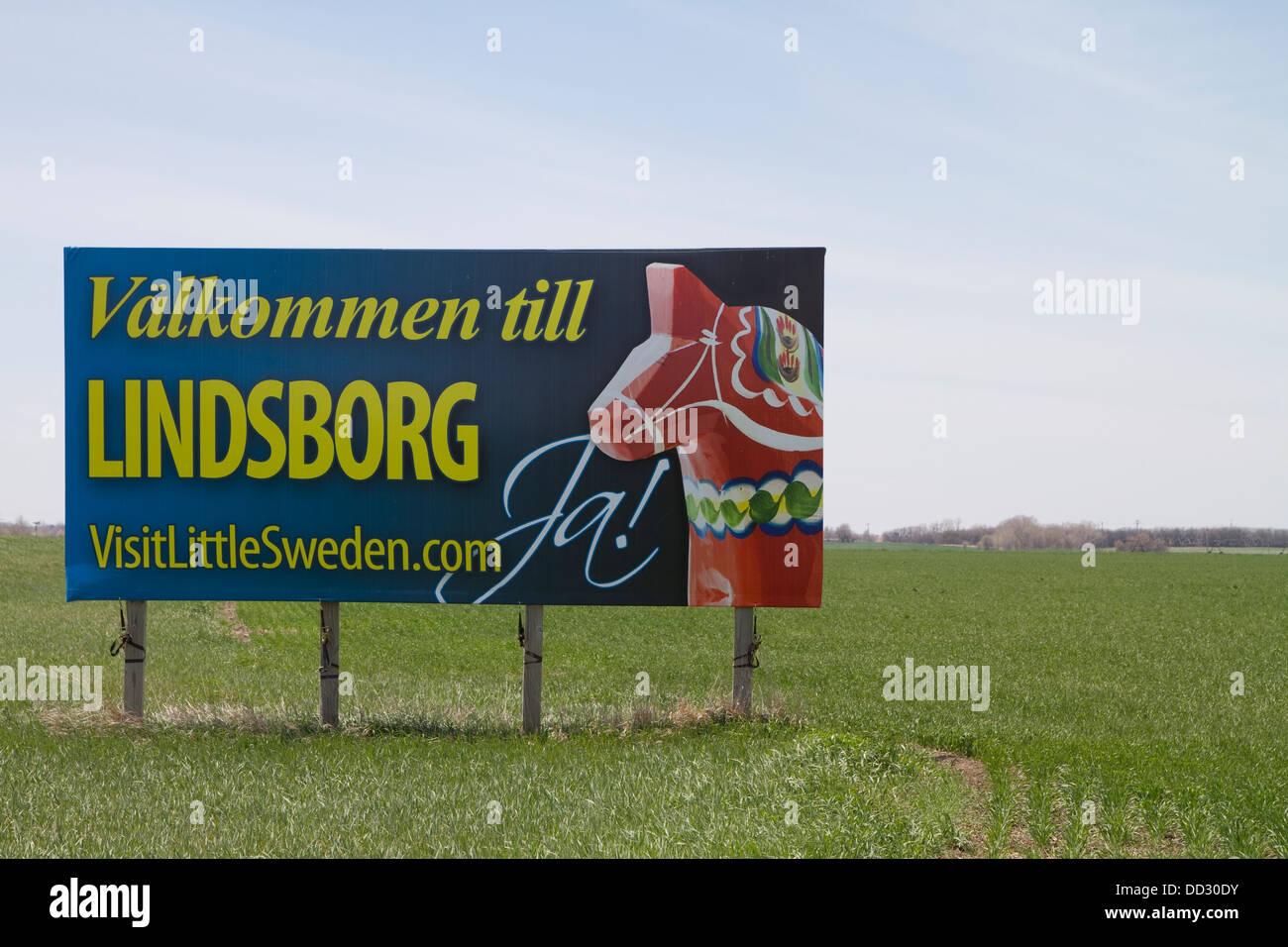 Sign. Welcome to Lindsborg, Little Sweden. Kansas. - Stock Image