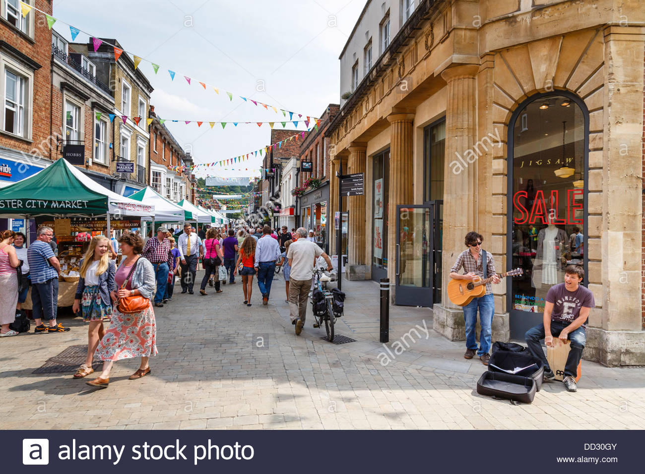 Pedestrianised high street in Winchester, Hampshire, UK Stock Photo