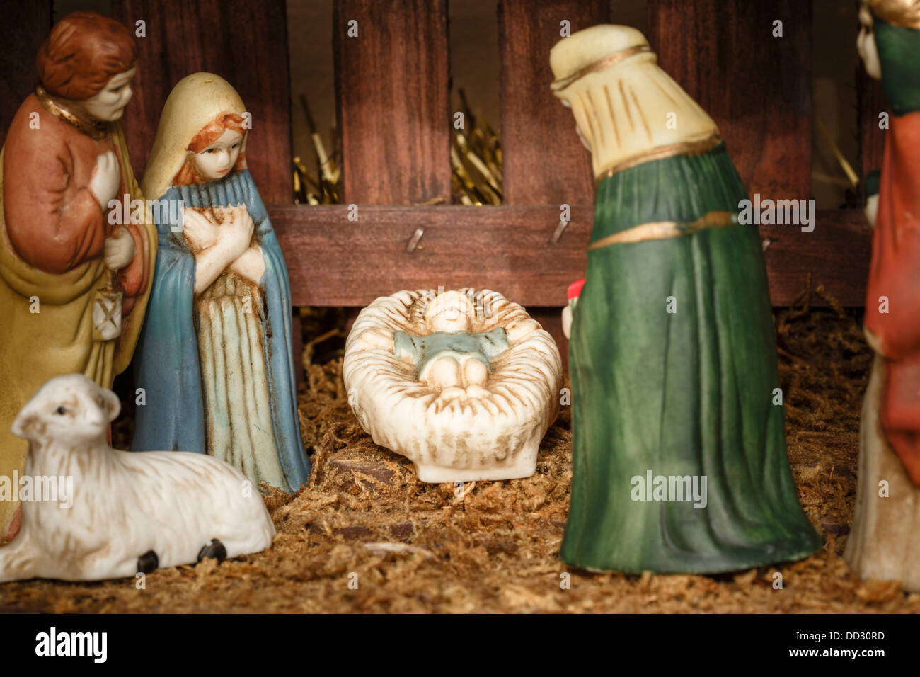 Closeup of figures from a nativity scene or set with Jesus Christ, Mary and Joseph Stock Photo