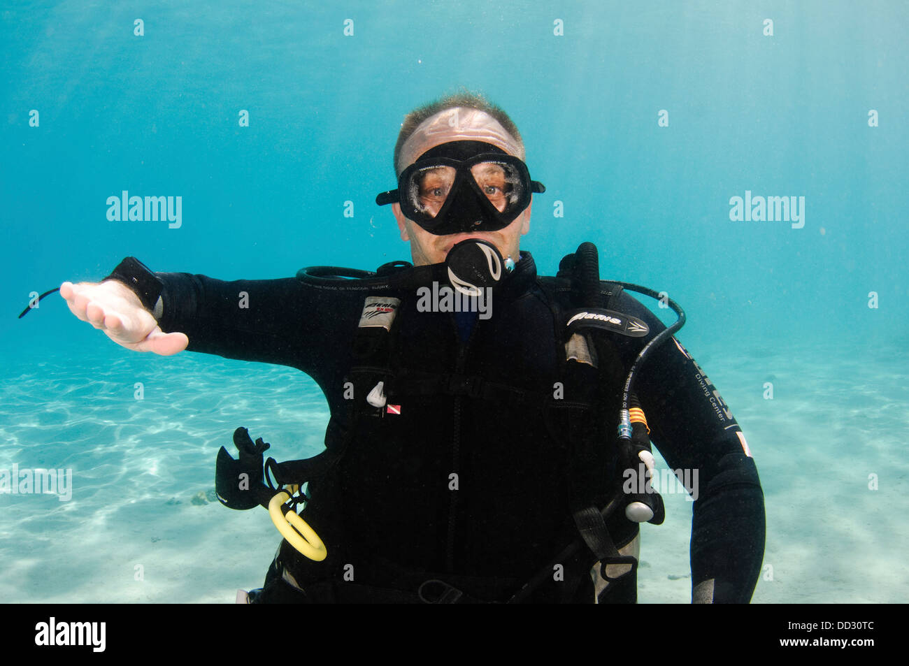 Underwater Hand signs - Stock Image