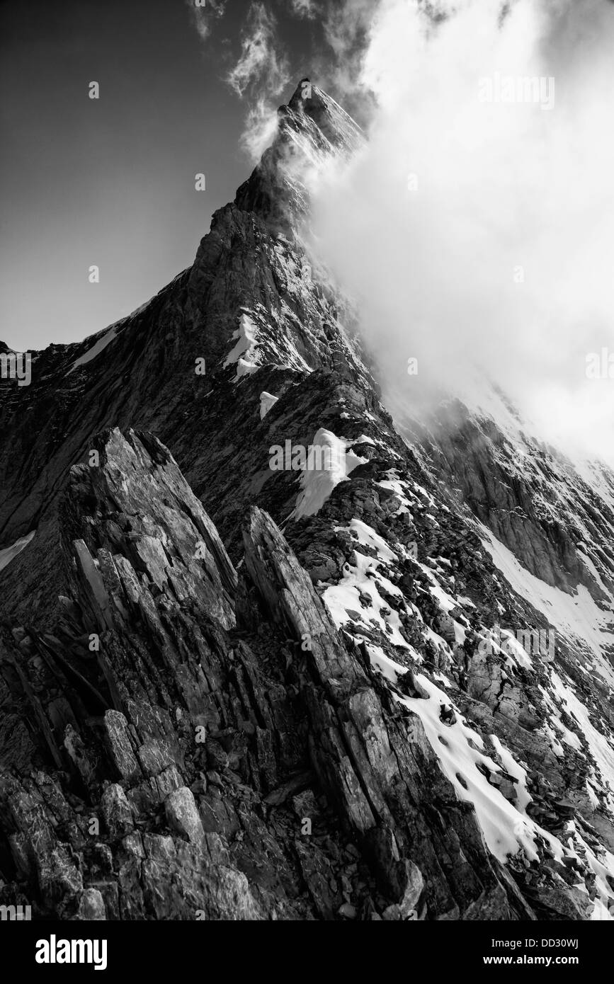 The Mittelegi Ridge on the Eiger Stock Photo