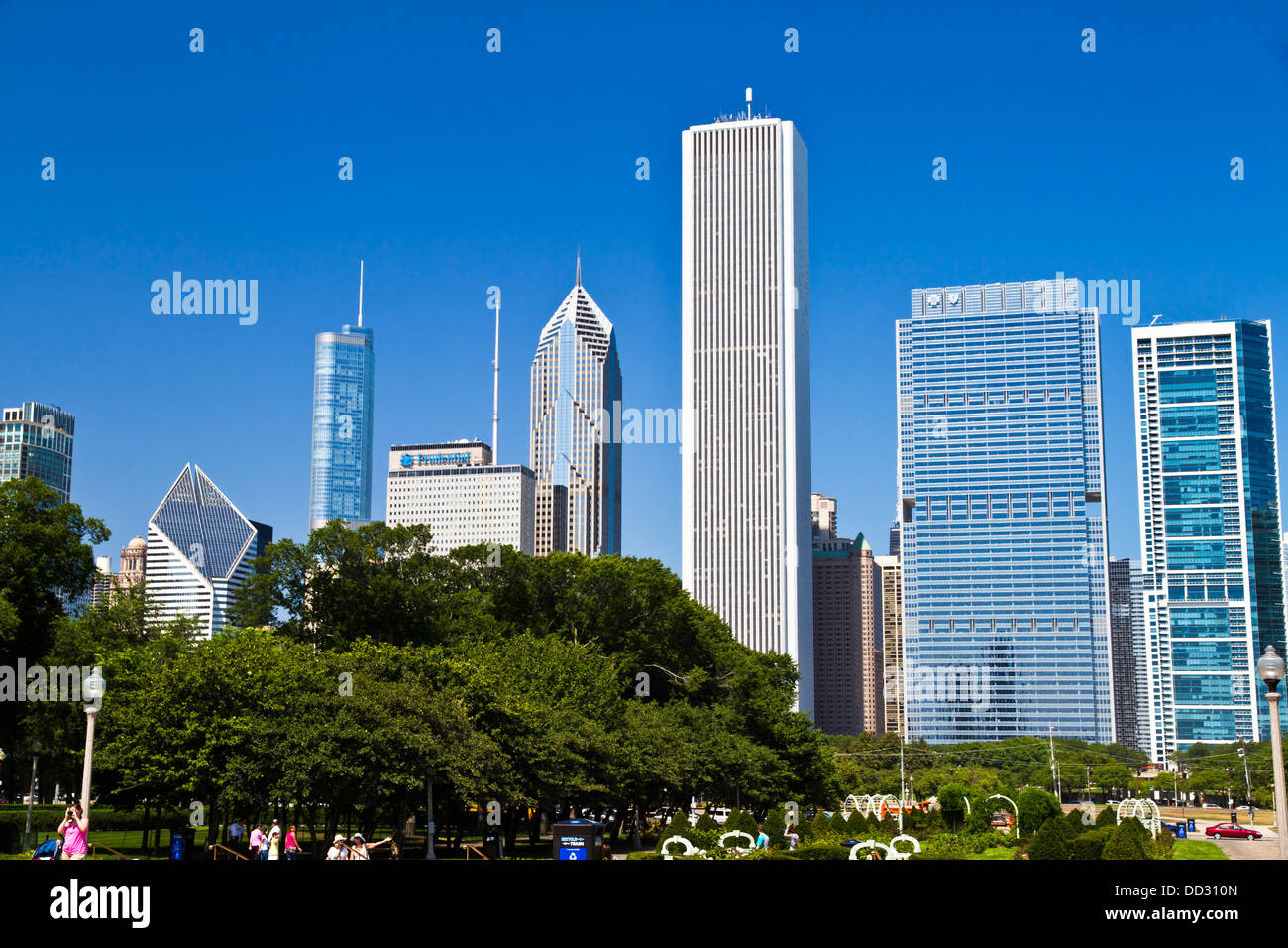 Chicago IL skyline from Grant park Stock Photo