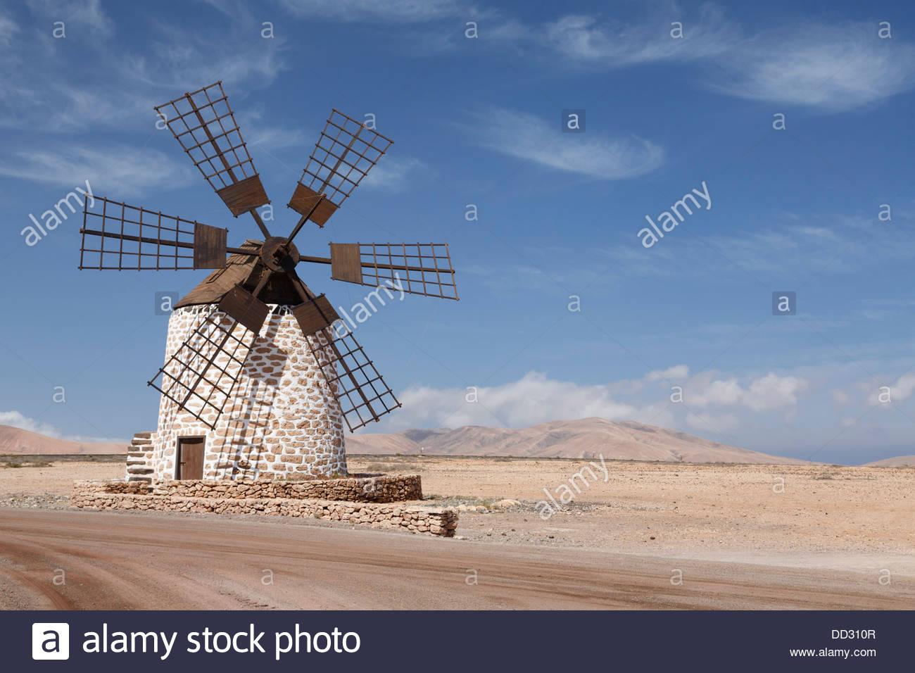 Old windmill or molino in Tefia, Fuerteventura, Canary Islands - Stock Image