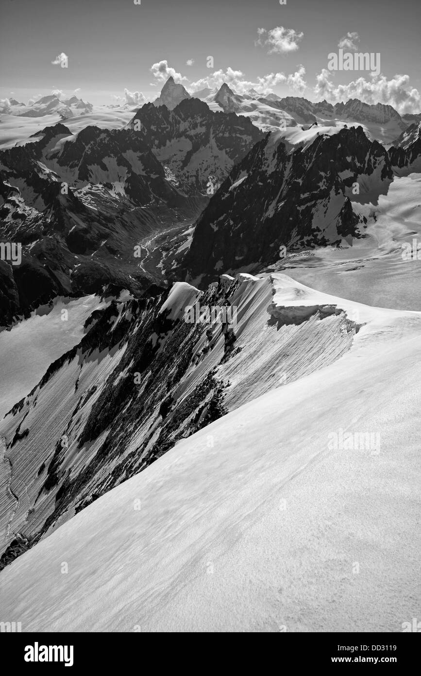 The Valais Alps from the Pigne d'Arolla Stock Photo