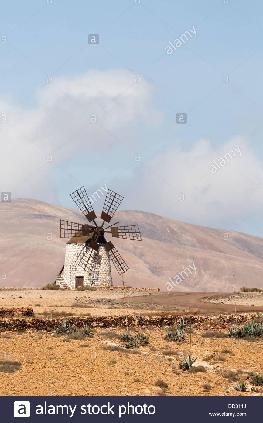 Traditional windmill or molino in Tefia, Fuerteventura, Canary Islands - Stock Image