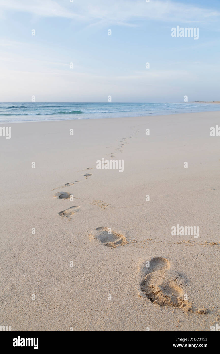 Footprints of feet on a beach walking away from the sea - Stock Image