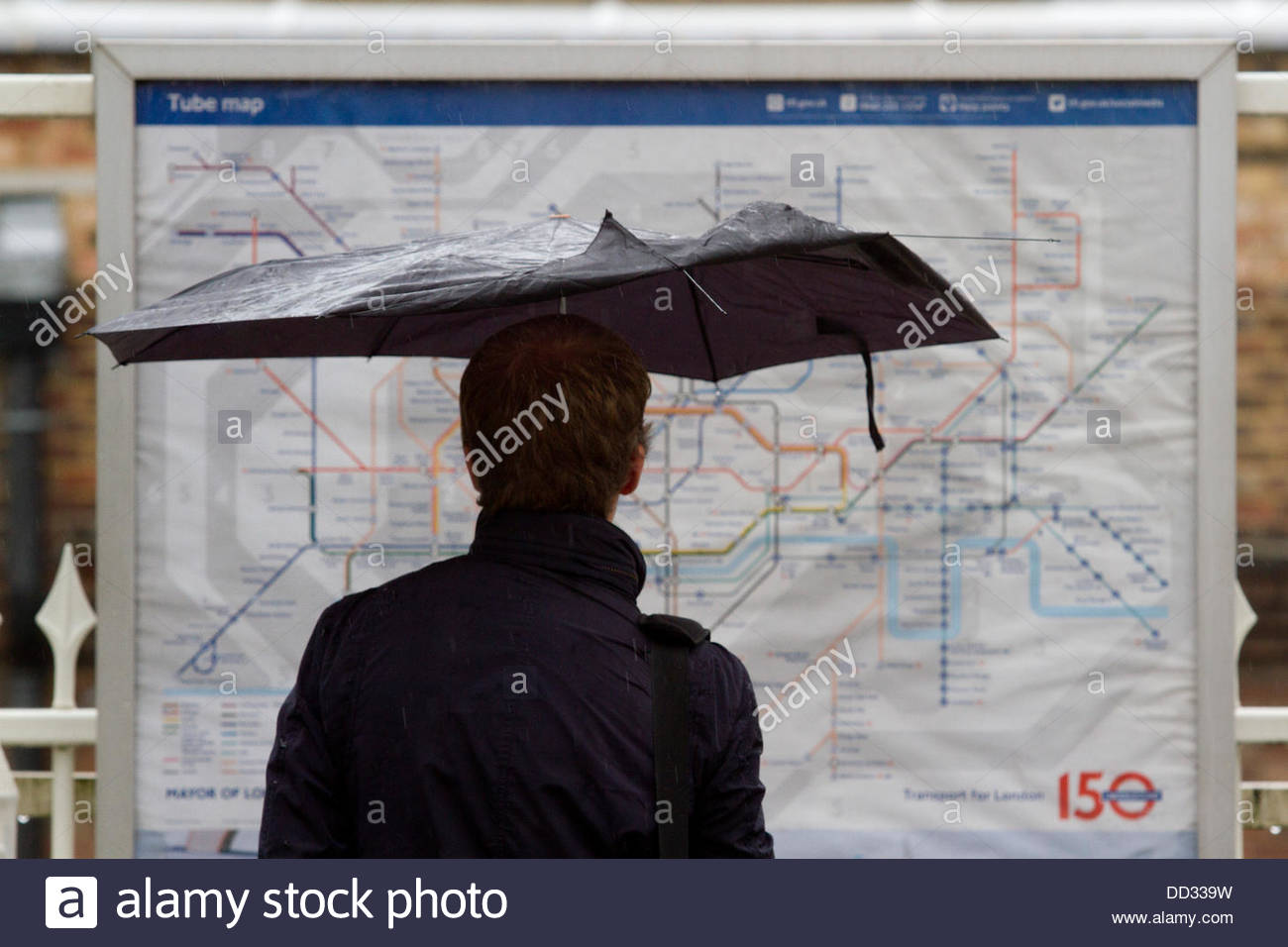 Putney bridge london uk 24th august 2013 a man with an umbrella putney bridge london uk 24th august 2013 a man with an umbrella looks at an underground map with rain predicted over the bank holiday weekend which may gumiabroncs Choice Image