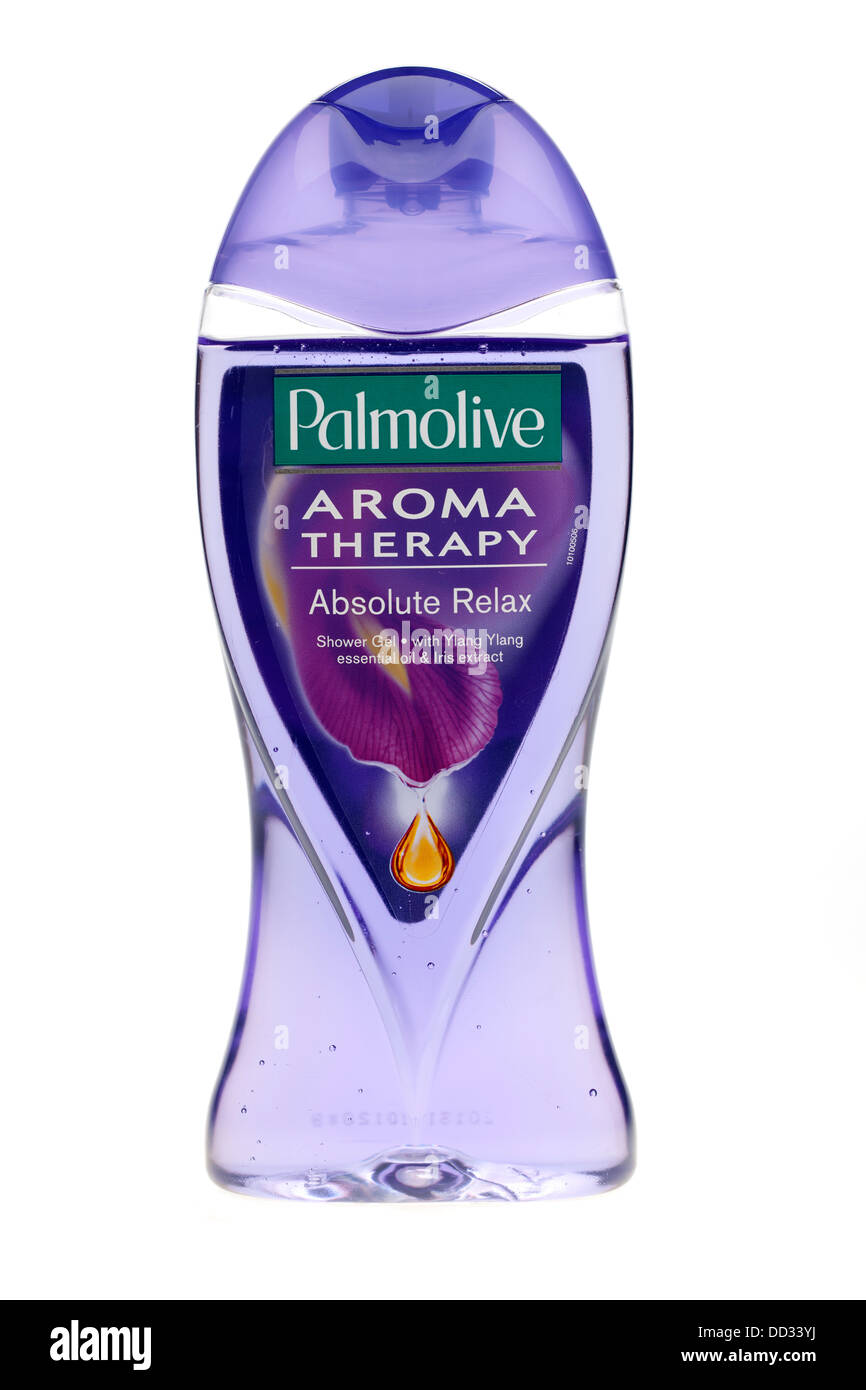 Bottle of Palmolive Aroma Therapy absolute relax shower gel with Ylang ylang essential oil extract - Stock Image