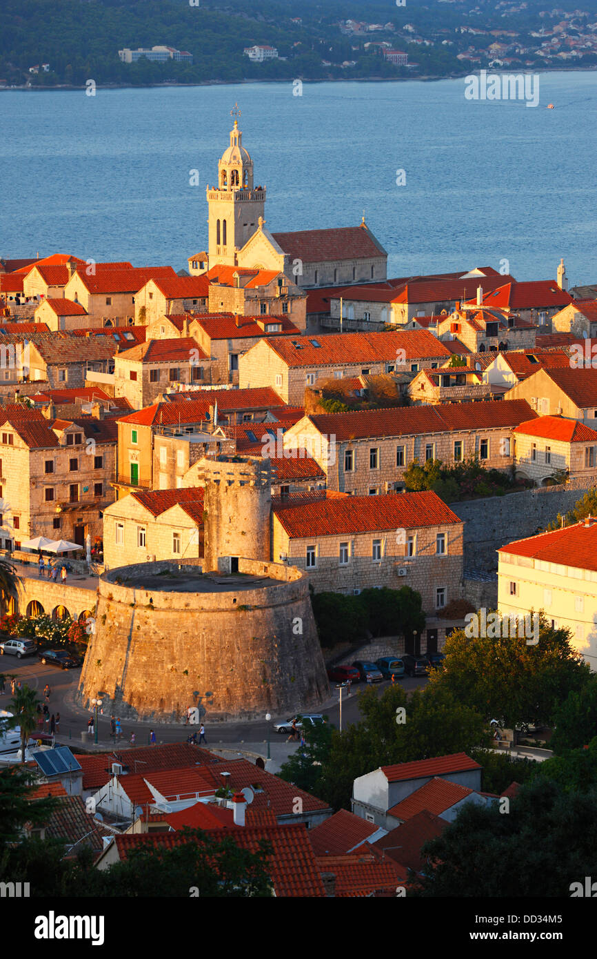 Korcula, old town at sundown - Stock Image