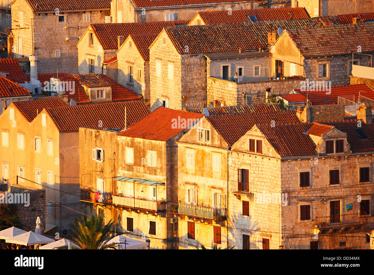 Korcula, old houses close up at sunset. - Stock Image