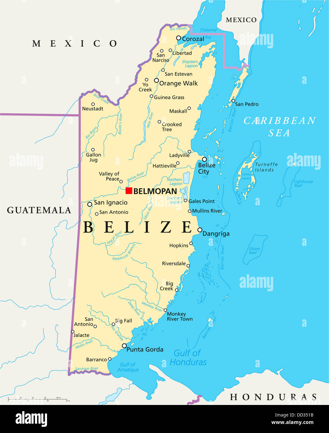 Political map of Belize with capital Belmopan national borders