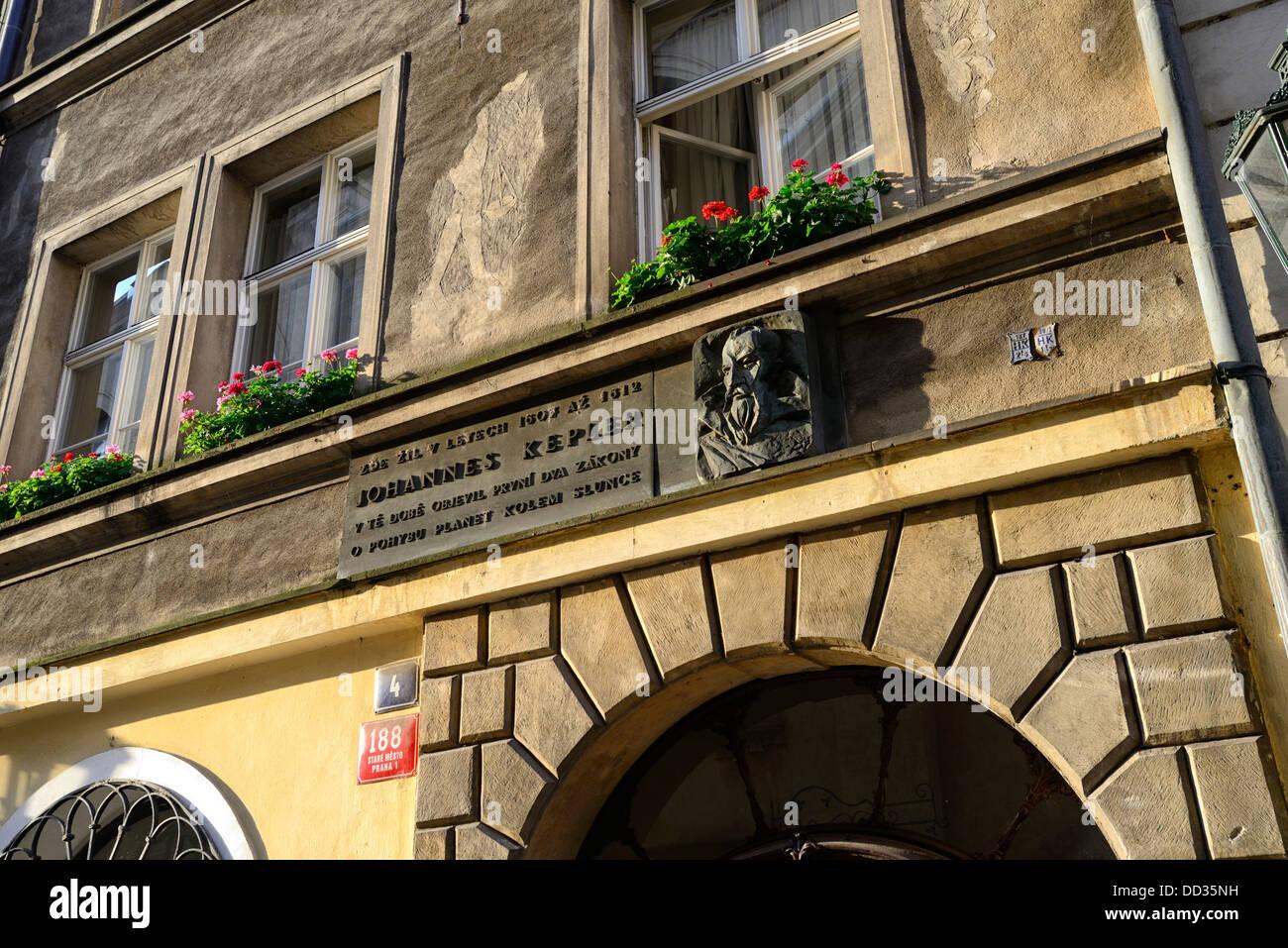 House lived in by Johannes Kepler near Charles Bridge, Prague, Czech Republic, Europe - Stock Image