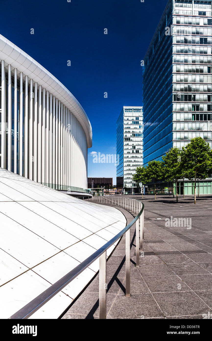 Part of the Philharmonie concert hall and the European Parliament office buildings on the Kirchberg Plateau in Luxembourg Stock Photo