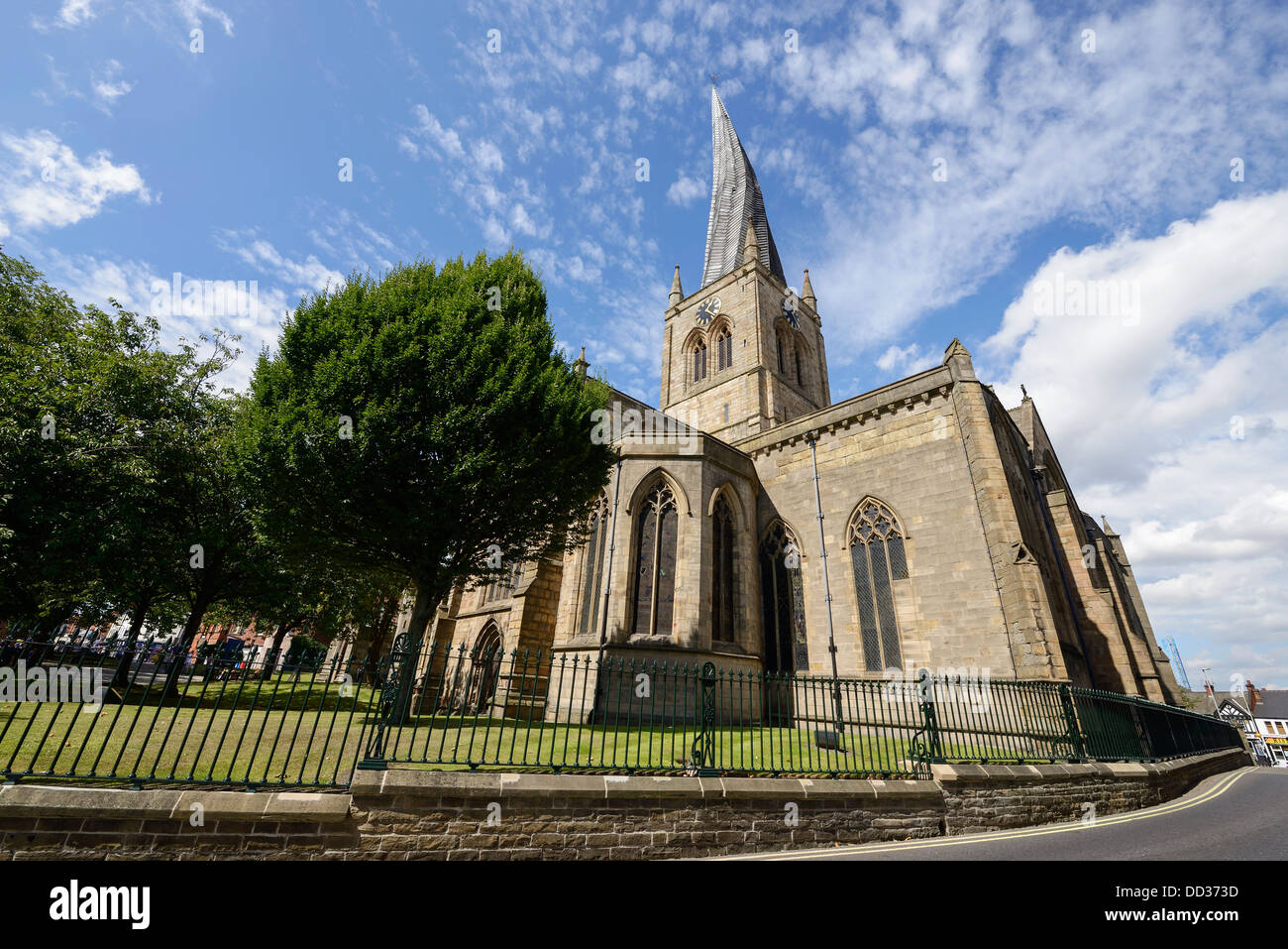 The crooked spire of the Church of St Mary and All Saints Chesterfield UK - Stock Image