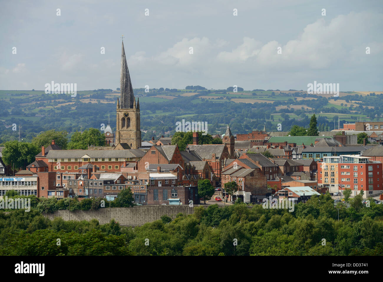 Chesterfield town centre and the church with the crooked spire UK - Stock Image