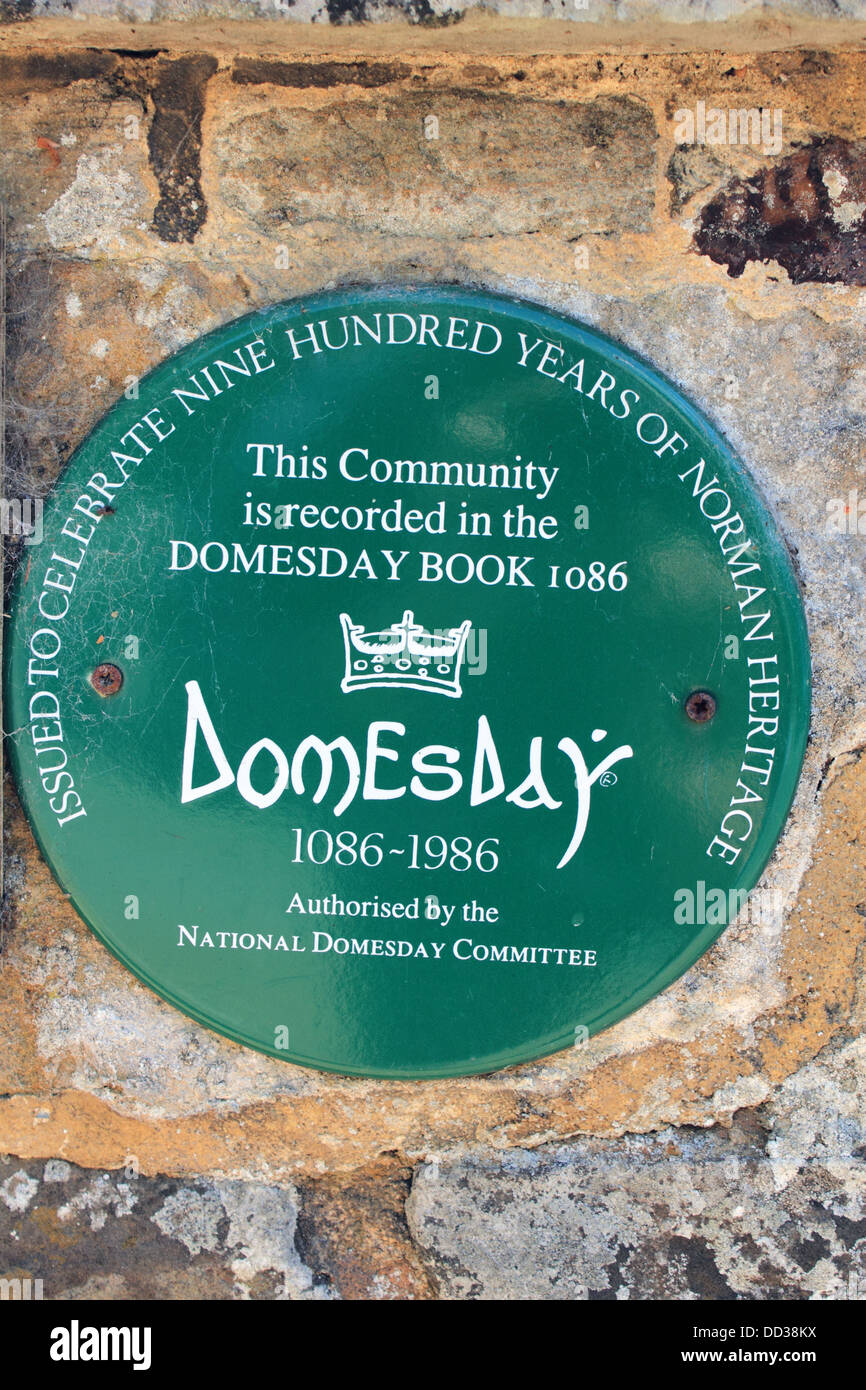 Domesday book memorial in the village of Mickleham between Dorking and Leatherhead, Surrey, England UK - Stock Image