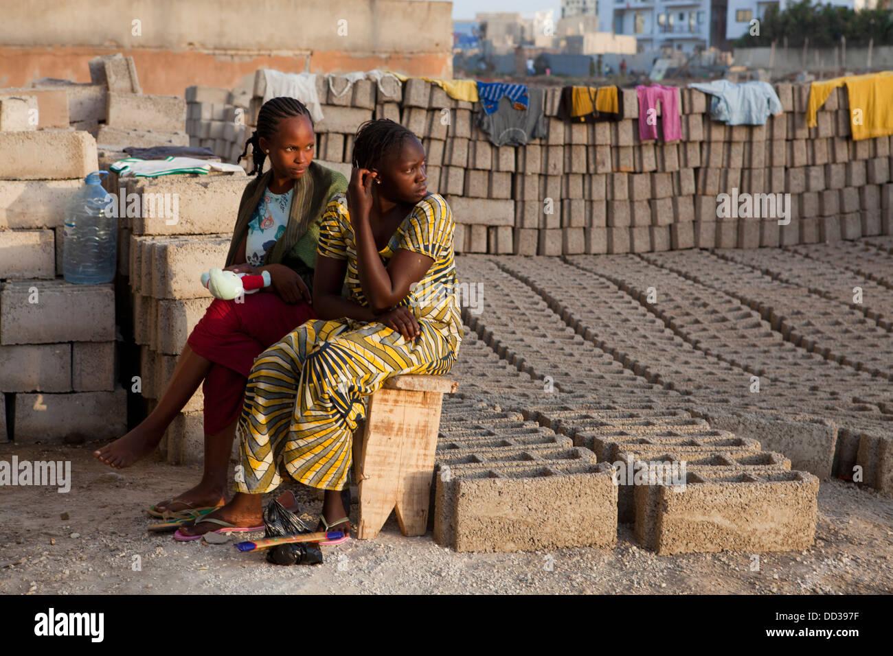 Daily life in suburban Dakar, Senegal. - Stock Image