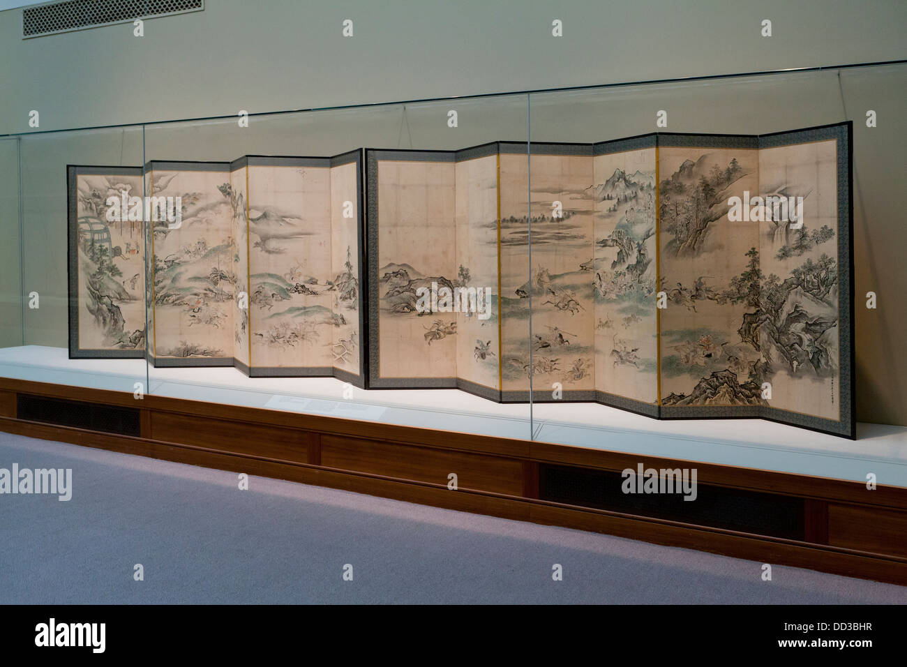 """Tatars Playing Polo and Hunting"" Japanese folding screens - Edo period, 1668 Stock Photo"