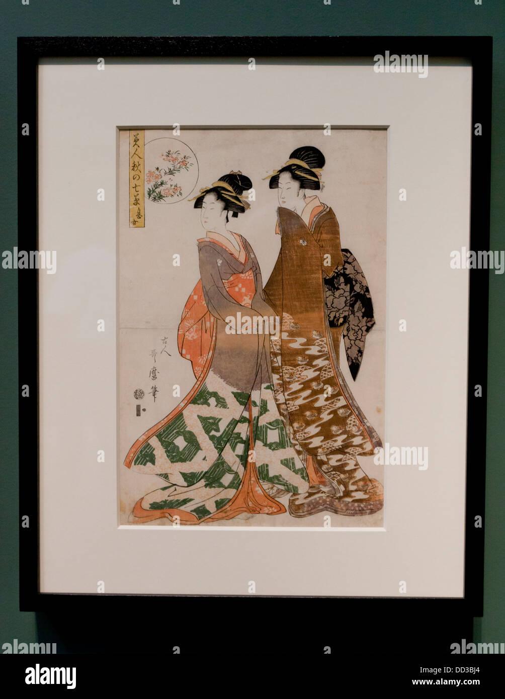 'Beauties of the Seven Autumn Grasses' Japanese woodblock print - Edo period, 19th century - Stock Image