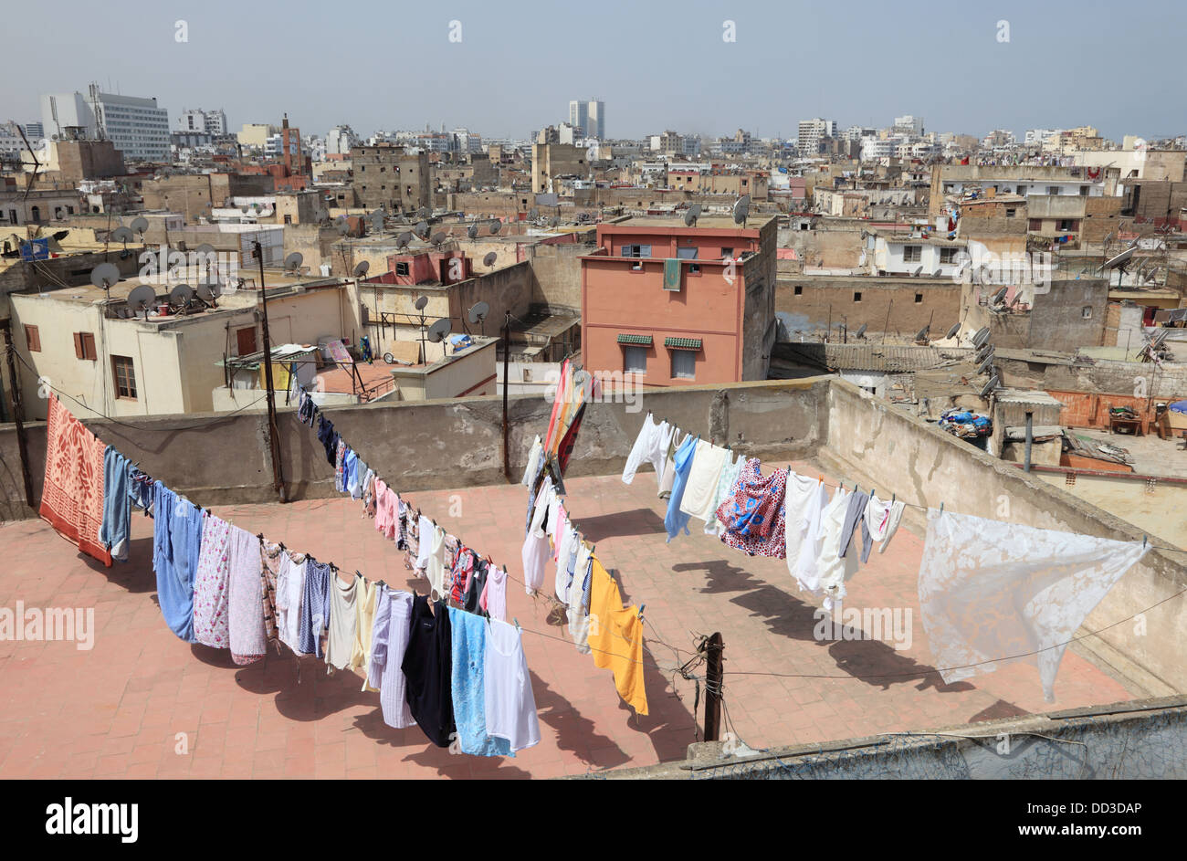 View over the rooftops of medina in Casablanca, Morocco - Stock Image