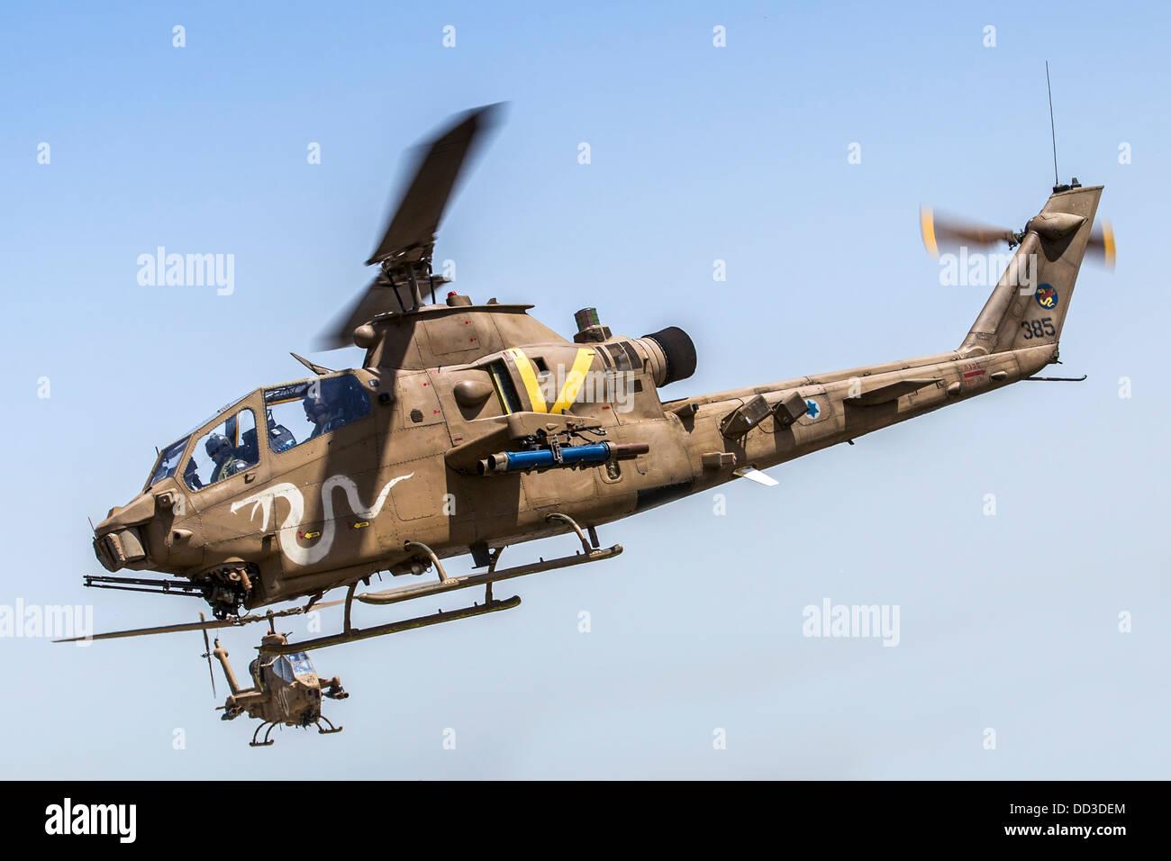 Israeli Air force (IAF) helicopter, Bell AH-1 Cobra in flight ...