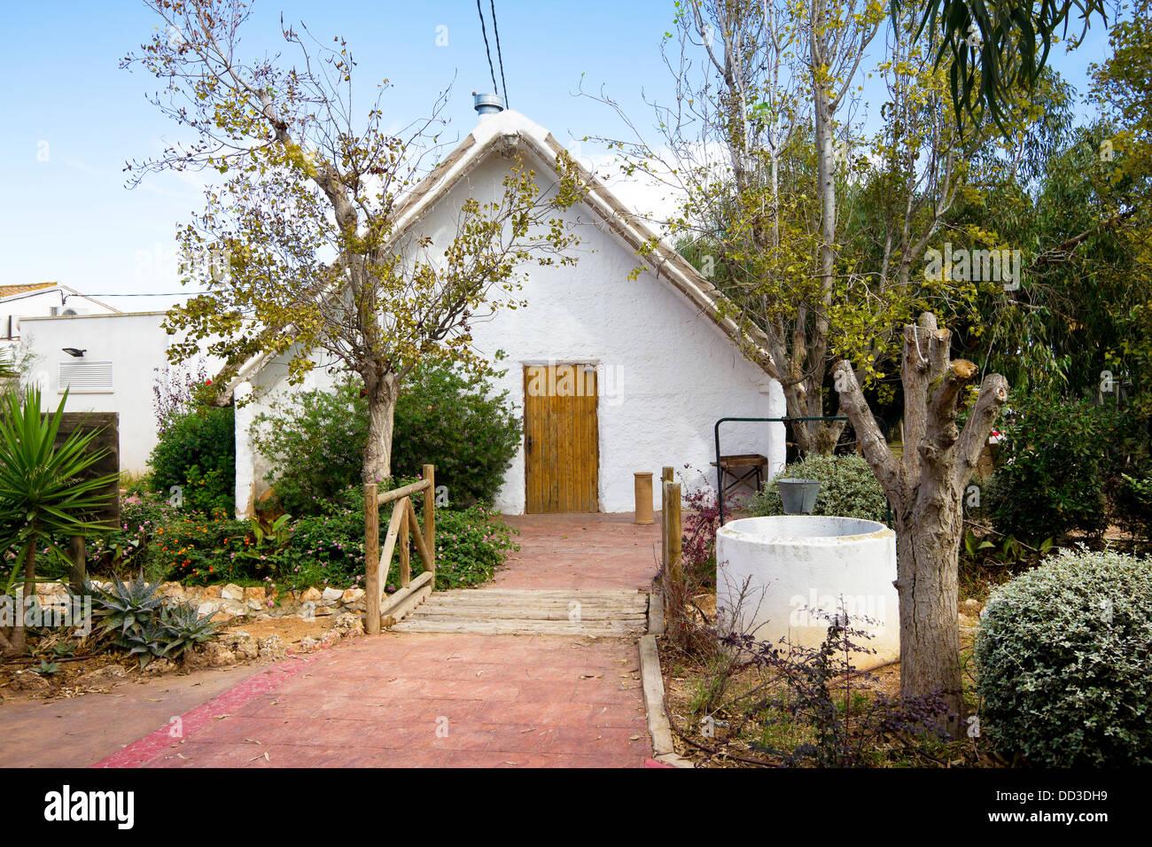Typical cottage of the Delta de l'Ebre, Tarragona, Catalonia (Spain) Stock Photo