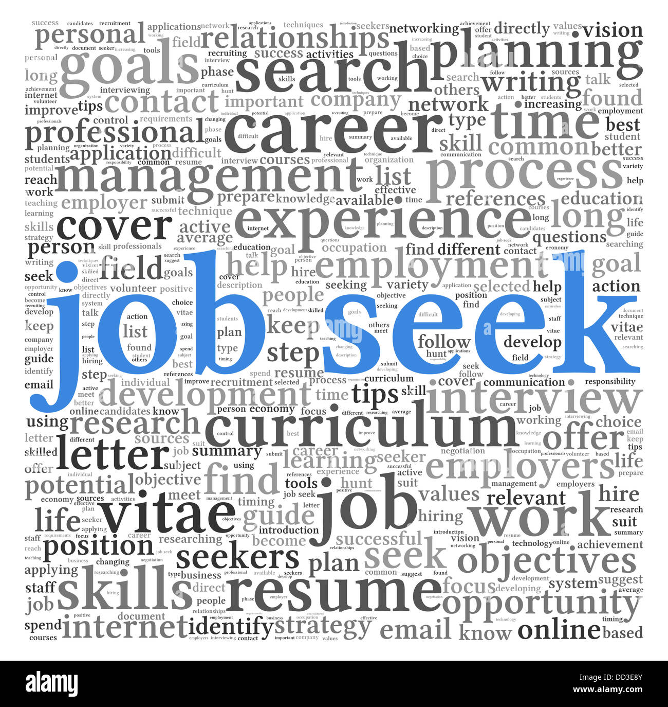 Job seek concept in word tag cloud on white background - Stock Image