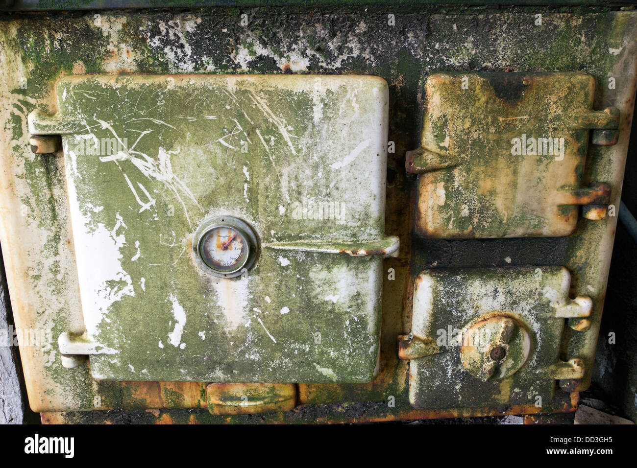 An old oven door within a derelict croft house Isle Of Lewis Western Isles Scotland UK - Stock Image