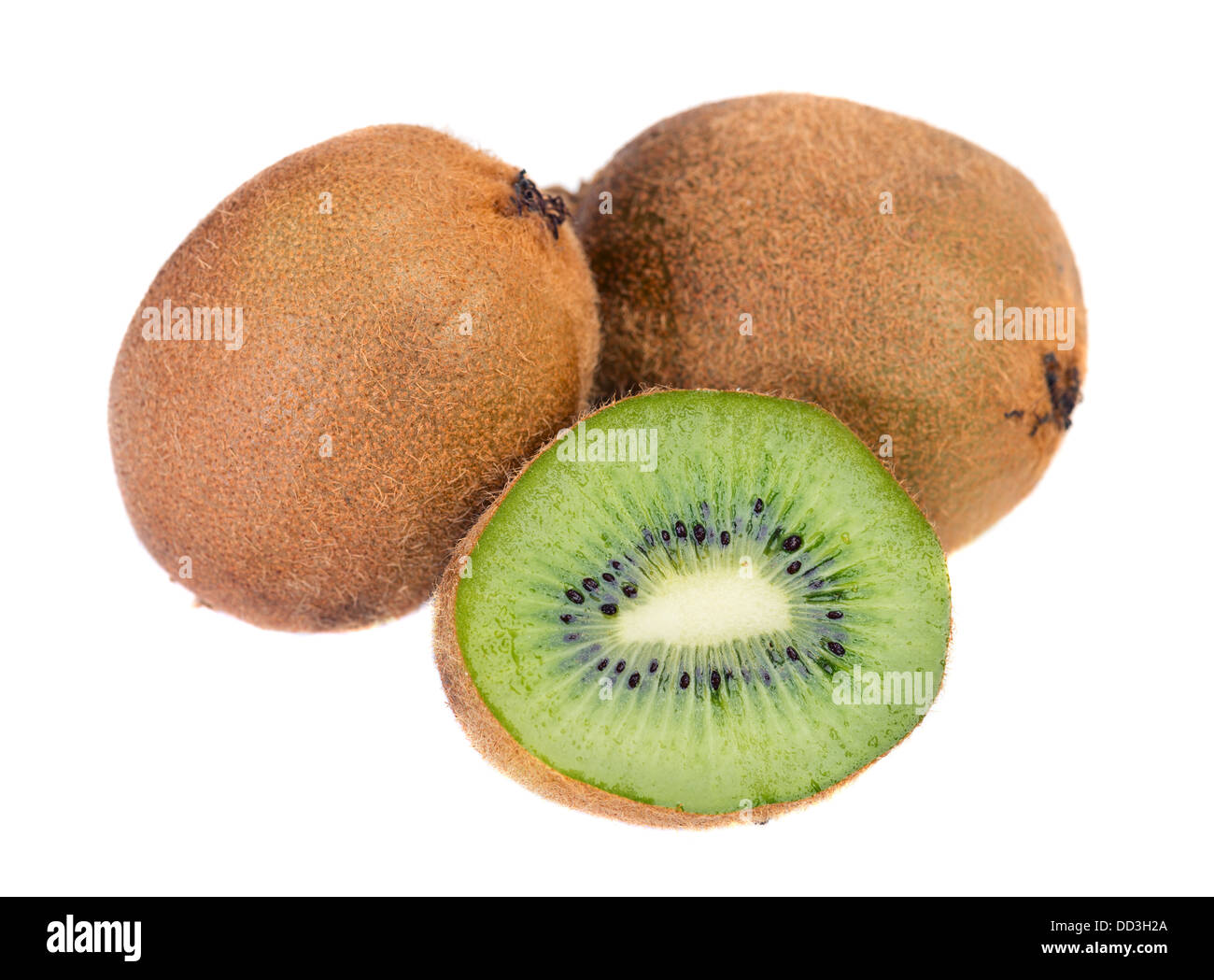 Very detailed surface of excellent quality kiwi fruit. No program computer sharp. Isolated for design projects Stock Photo