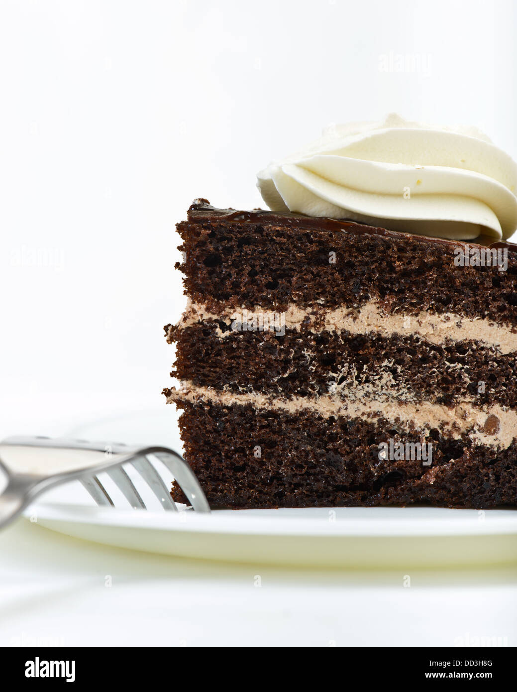Chocolate Cake on plate with fork - Stock Image