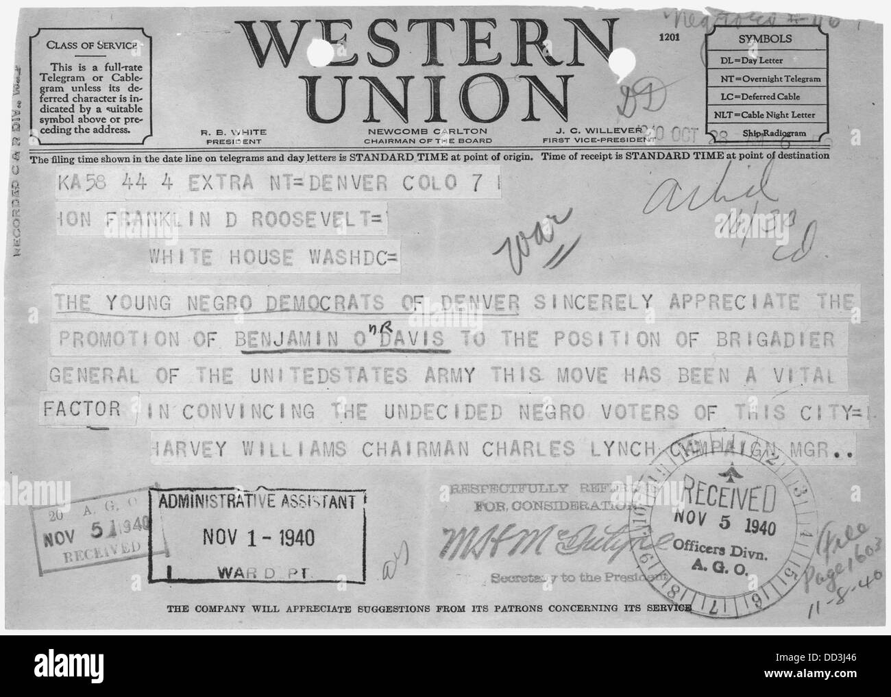 Telegram from Harvey Williams and Charles Lynch of Denver, Colorado, Chairman and Campaign Manager, respectively, - Stock Image