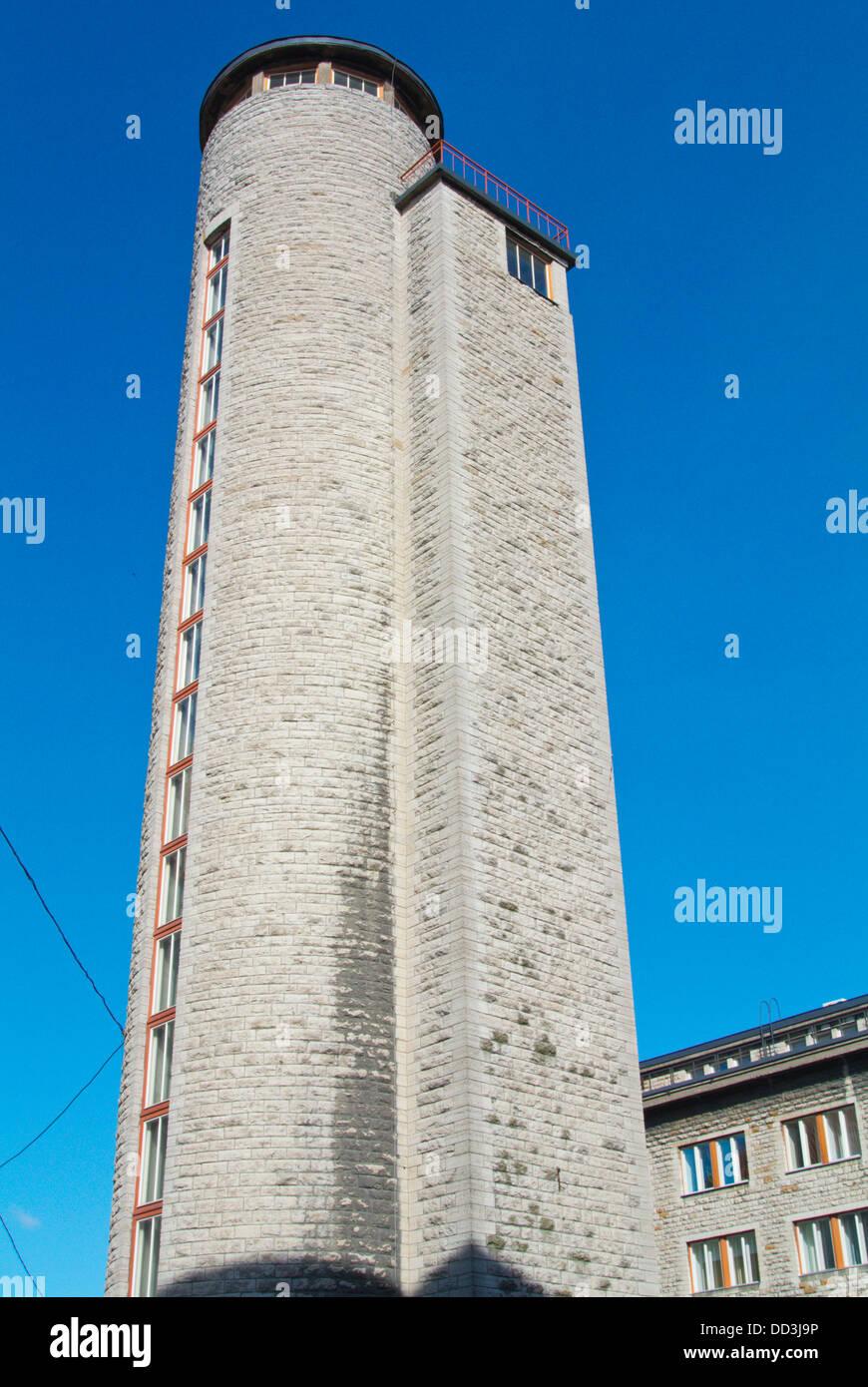 Former fire station tower (1939) by Herbert Johanson at Raua street central Tallinn Estonia the Baltics Europe - Stock Image