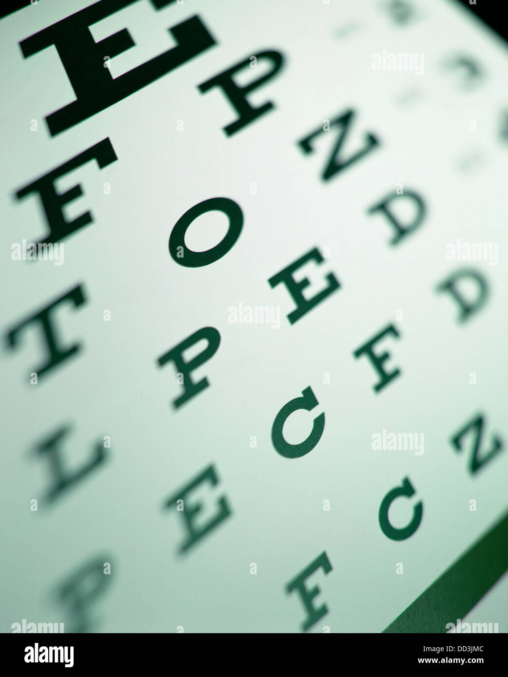 A eye chart seen with sharp and out of focus areas. - Stock Image