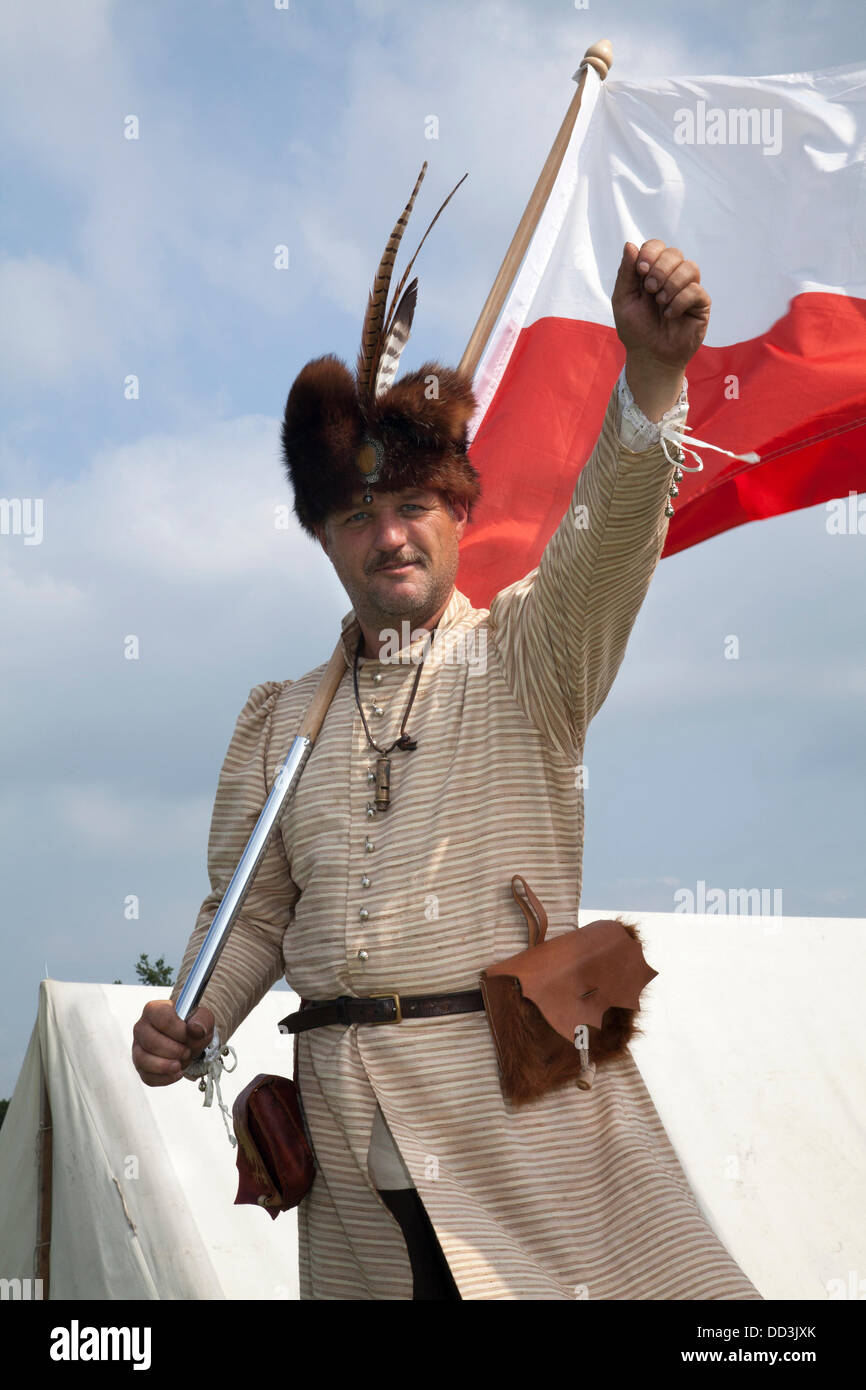 1940, 1941, 1942, 1943, 1944,  soldier. Andy Hopwood from Crewe a re-enactor dressed in17th Century Polish outfit - Stock Image