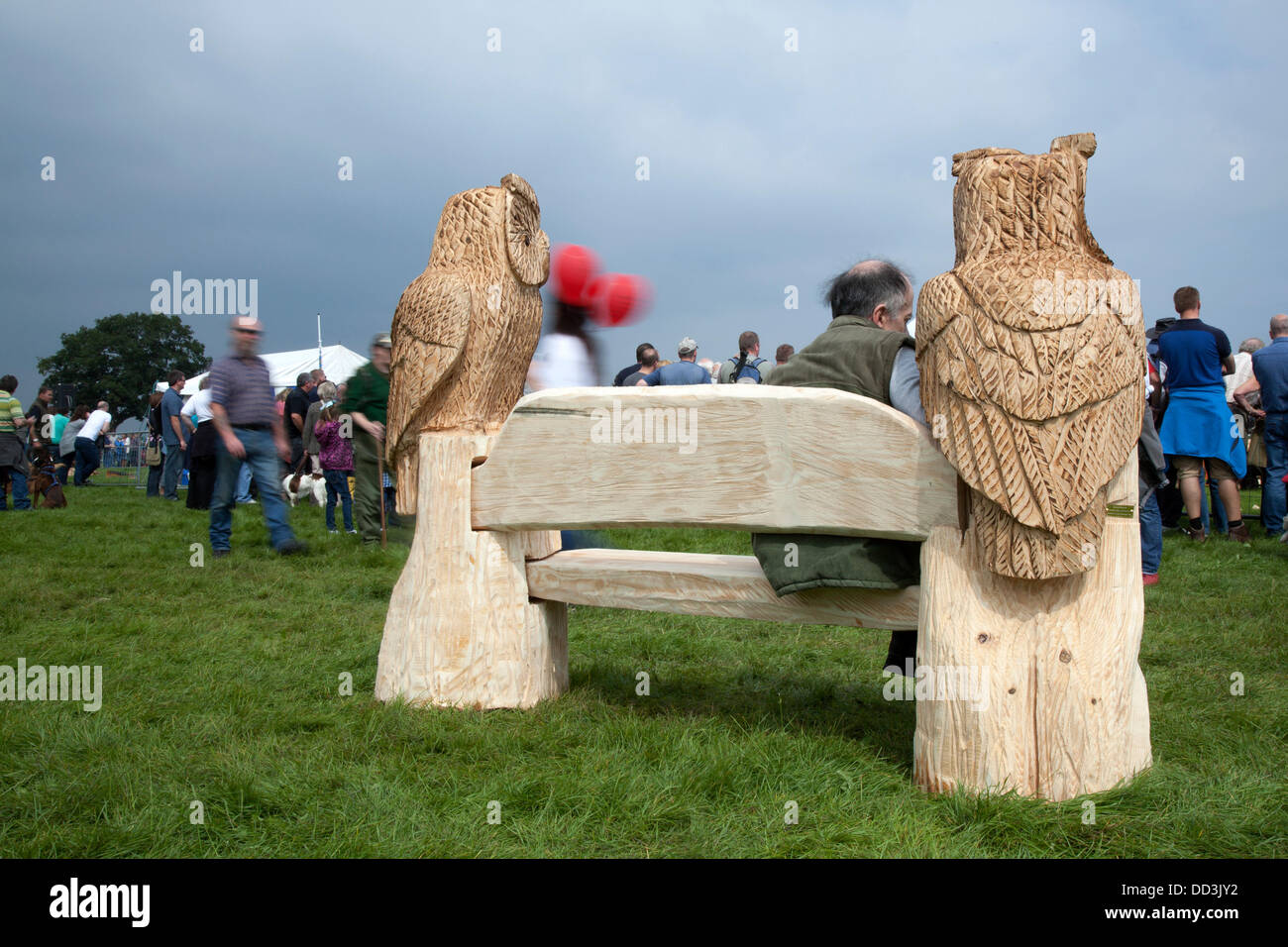 Cheshire Game & Country Fair, UK,  Aug 24 to Aug 26, 2013.  Chainsaw carved Owls; art figures at the 6th Tabley - Stock Image