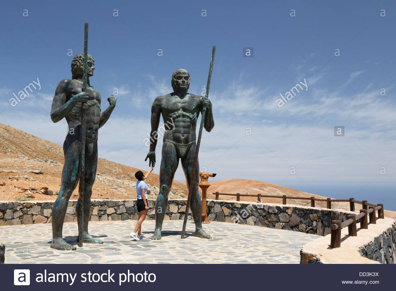 Statues of Guanche kings Guize and Ayose on Fuerteventura, Canary Islands Stock Photo