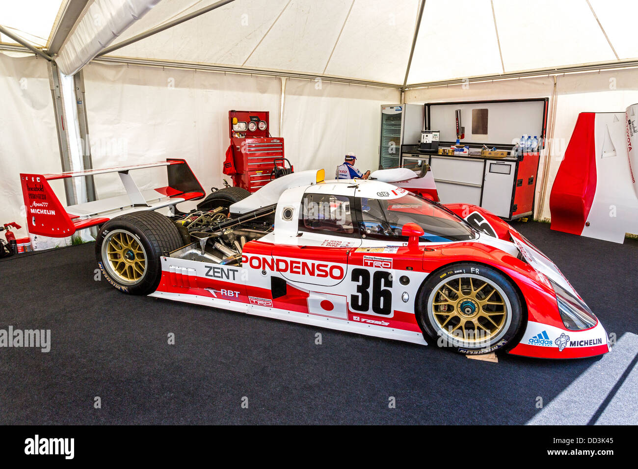 1992 toyota ts010 le mans racer in the paddock garage at for Garage automobile le mans
