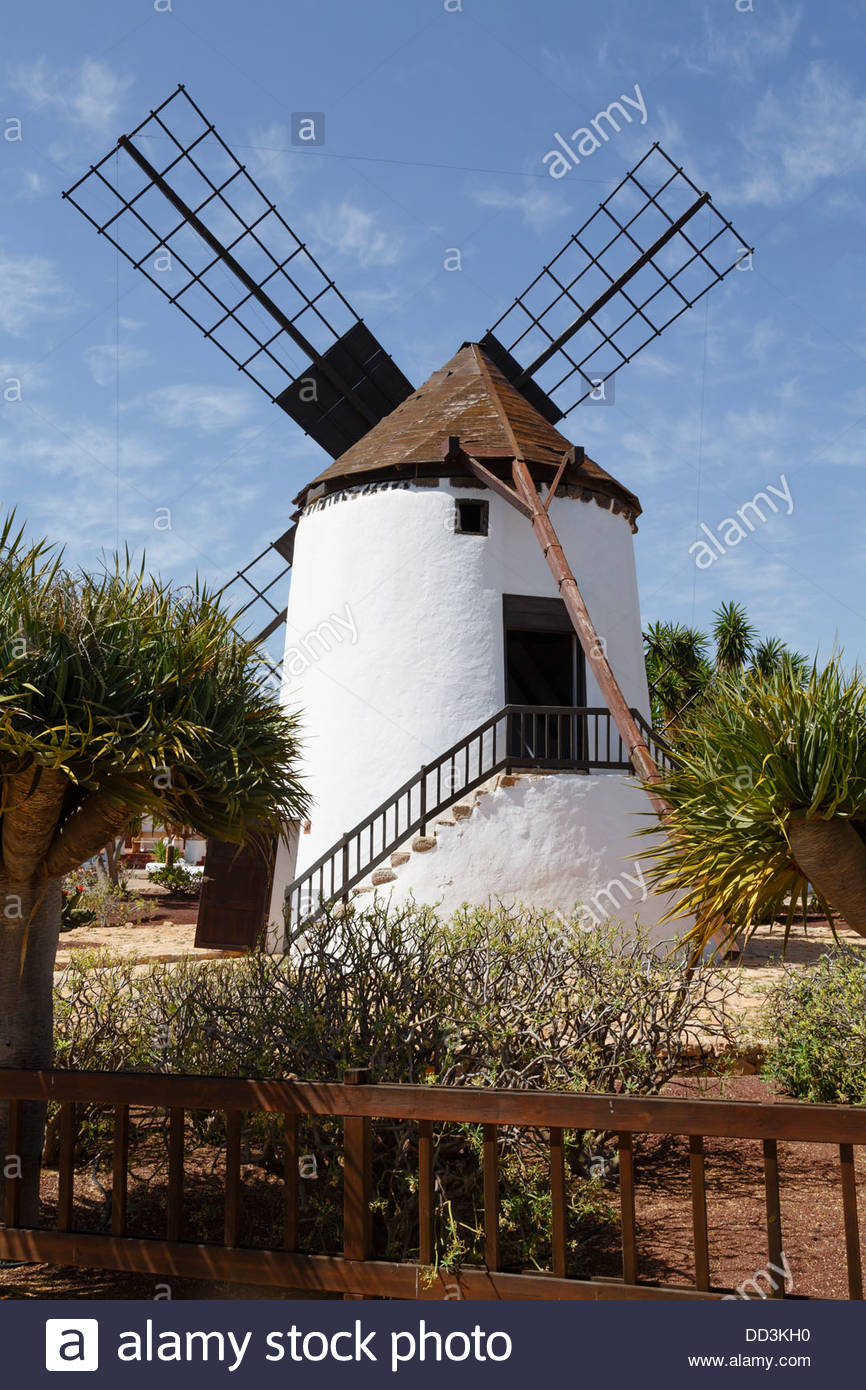 Traditional spanish windmill Molino de Antigua in Fuerteventura, Canary Islands - Stock Image