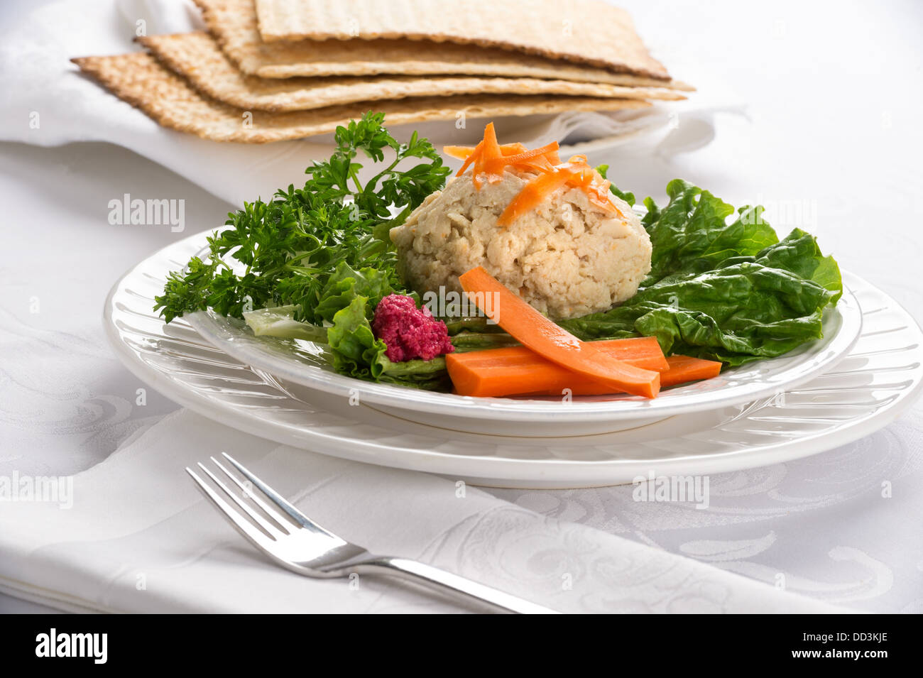 Traditional Jewish passover food gefilte fish with carrots