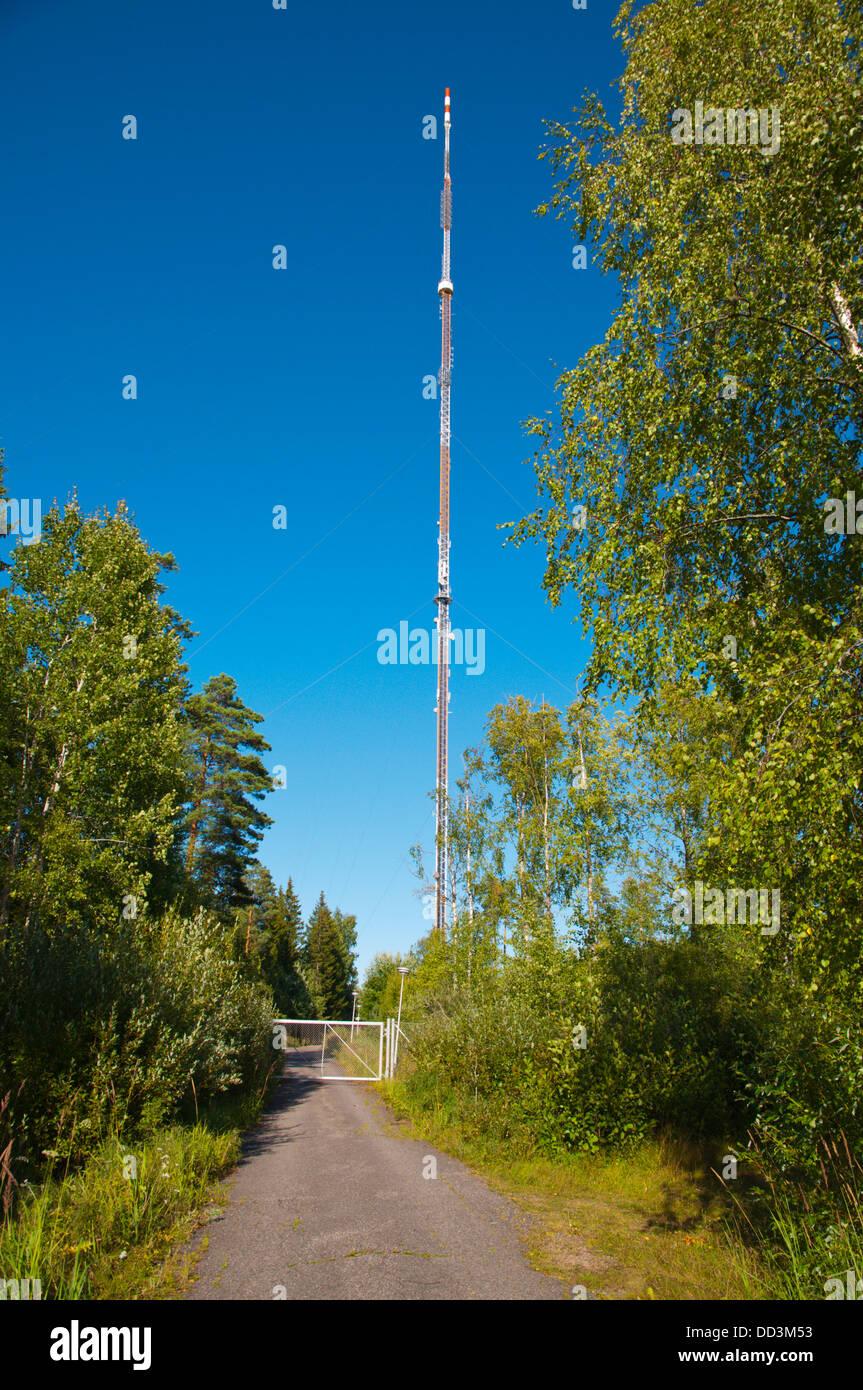 Eurajoen radio- ja tv-asema the telecommunications mast Eurajoki western Finland Europe - Stock Image