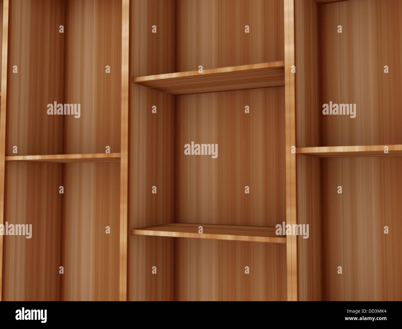 3d blank shelf with wooden base - Stock Image