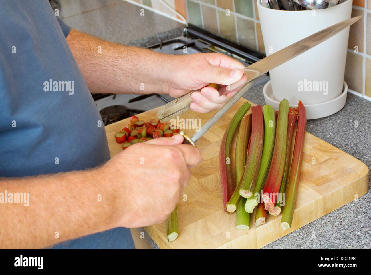 Male cook sharpening knife on a steel in a domestic kitchen. There is rhubarb on the chopping board. - Stock Image