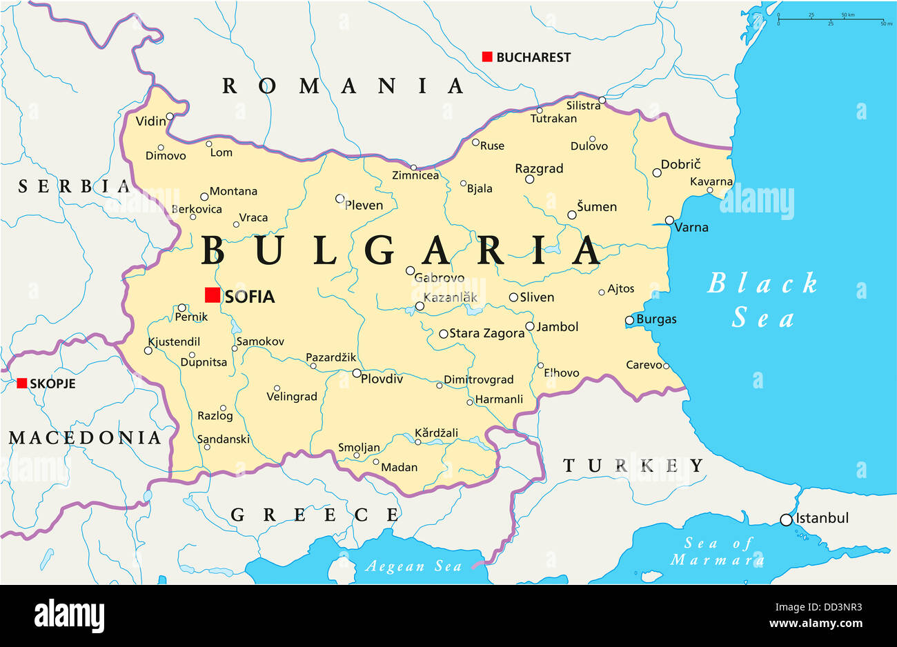 Political map of bulgaria with capital sofia national borders stock political map of bulgaria with capital sofia national borders important cities rivers lakes english labeling and scale gumiabroncs Gallery