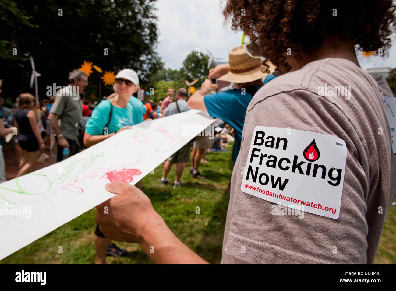 Fracking protester - Washington, DC USA - Stock Image